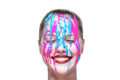 A woman with painted face smiling Stock Photos