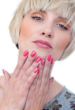 Woman with painted fingernails stock photography