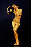 Woman Painted Gold With Vinyl Record Stock Photography