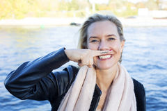 Woman with painted mustache Royalty Free Stock Photos