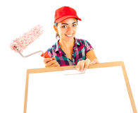 Woman painter with clipboard and paint brush Stock Photos