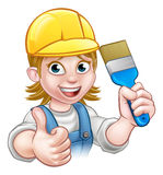 Woman Painter Decorator Cartoon Character Stock Photo