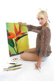 Woman painter with picture Stock Photo