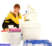 Woman painting Stock Photography