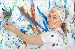 Woman painting Royalty Free Stock Photography