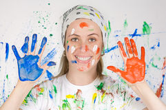 Woman painting Stock Image