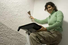 Woman Painting A Wall - Horizontal Royalty Free Stock Photo