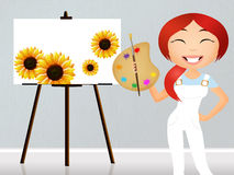 Woman painting the canvas Stock Photo