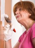 Woman painting door Royalty Free Stock Image