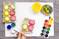 Woman painting Easter eggs. Happy easter. Stock Photos