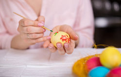 Woman painting Easter eggs Stock Photo
