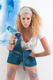 Woman painting at home Royalty Free Stock Photos