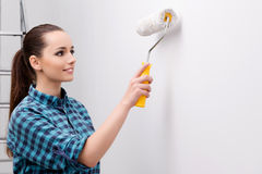 The woman painting house in diy concept Stock Photo