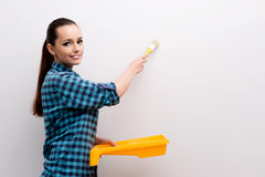 The woman painting house in diy concept Royalty Free Stock Photo