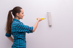 The woman painting house in diy concept Royalty Free Stock Photography