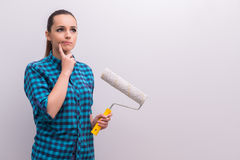 The woman painting house in diy concept Royalty Free Stock Images
