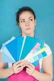 Woman painting the interior Stock Photo