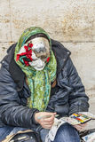 Woman Painting Masks Stock Photos