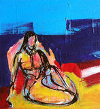 Woman Painting - Odalisque. In a modern Style. From Original Acrylic Painting Stock Photography