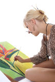 Woman painting a picture Royalty Free Stock Photography