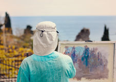 Woman Painting Scenic Outdoors Stock Photography