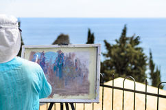 Woman Painting Scenic Outdoors Royalty Free Stock Image