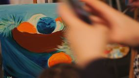 Woman painting still life and enjoying work, art school, talent and creativity. Stock footage stock video