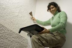 Woman Painting a Wall - Horizontal Royalty Free Stock Photo
