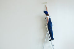 Woman Painting Wall on Stepladder Stock Photo
