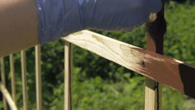 Woman painting wooden pergola in garden stock video footage