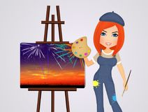 Woman paints fireworks. Illustration of woman paints fireworks Stock Photography