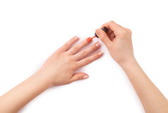 Woman paints her nails Stock Photography