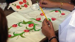 Hand crafts painting flowers stock photography