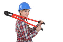 Woman with pair of boltcutters. Woman with a pair of boltcutters Stock Photos