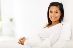 Woman pajamas bed Stock Photo