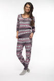 Woman in pajamas. Over white backround Royalty Free Stock Image