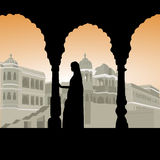 Woman at palace. Silhouette view of woman at palace Royalty Free Stock Photos