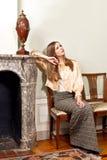 Woman palace sitting stock photography