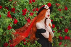 Woman with pale skin and long red hair Royalty Free Stock Images