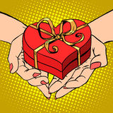 Woman palm shape red heart gift box Valentines day Royalty Free Stock Photography