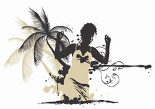 Woman and palm tree. Illustration of a woman and a palm tree Stock Photography