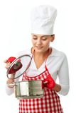 Woman with pan Royalty Free Stock Images
