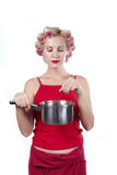Woman with pan d Royalty Free Stock Image
