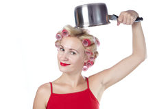 Woman with pan Royalty Free Stock Photos