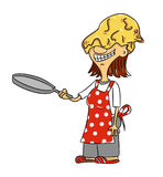 Woman with pancake on face, vector. Stock Photography
