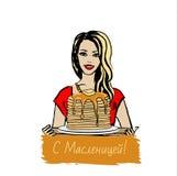 Woman with pancakes Stock Photos