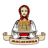 Woman with pancakes Royalty Free Stock Photography