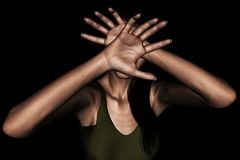 Woman Panic. 3d rendering of a woman using her hand to hide her face from something scary,or protecting from being attacked stock illustration