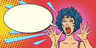 Woman panic, fear, surprise gesture. Girls 80s. Woman panic, fear, surprise gesture. Pop art retro vector illustration. Girls 80s vector illustration