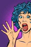 Woman panic, fear, surprise gesture. Girls 80s royalty free illustration